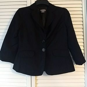 Crop sleeve linen blazer